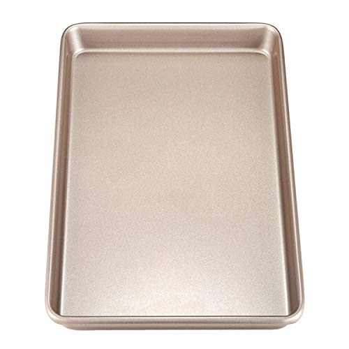 CHEFMADE 17-Inch Rimmed Baking Pan, Non-stick Carbon Steel Cookie Sheet Pan, FDA Approved for Oven Roasting Meat Bread Jelly Roll Battenberg Pizzas Pastries 12' x 17'(Champagne Gold)