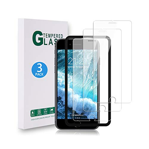 "[3-Pack] Screen Protector Compatible with iPhone 8/iPhone 7/iPhone 6/iPhone 6s(4.7"") Ultra-Sensitive & Anti-Scratch Tempered Glass HD Clear [9H Hardenss][Case Friendly][Easy Installation Frame][ Bubble Free] Protective Film for iPhone 8/7/6/6s"