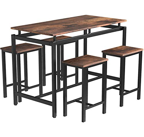 MIERES 5-Piece Dining Table Set, Bar Table with 4 Bar Stools, Breakfast Nook Table Set, Counter Height Table with Metal Legs, Perfect for Kitchen/The Bar/Restaurant, Brown Black/Height 34.7'