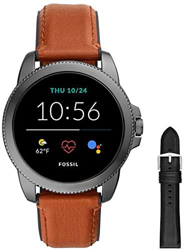 Fossil Connected Smartwatch Gen 5E para Hombre con tecnología Wear OS de Google, frecuencia cardíaca, Cuero Marrón/Silicona Negro + Correa de Piel Negro y Silicona