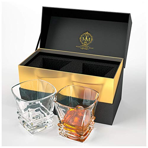 Premium Quality Whiskey Glasses. Genuine Lead Free Crystal Glasses Designed In Europe. In Stylish Gift Box. Set Of 2 Double Old Fashioned Glasses, 10oz Tumblers For Spirits, Whisky, Scotch Or Bourbon.