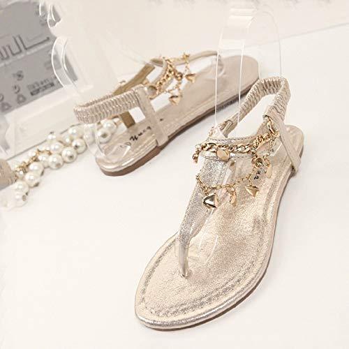 LXYYBFBD sandalen voor dames, gouden casual mode metalen ketting draperen Romeinse toe platte sandalen, comfortabel antislip
