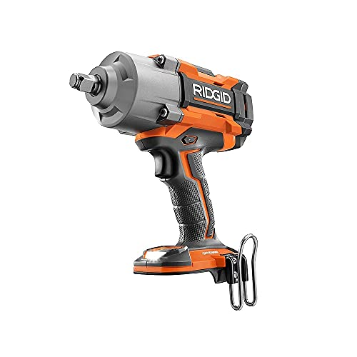 RIDGID 18V OCTANE Cordless Brushless 1/2-inch High Torque 6-Mode Impact Wrench (Tool-Only) with Belt Clip (R86211B)�