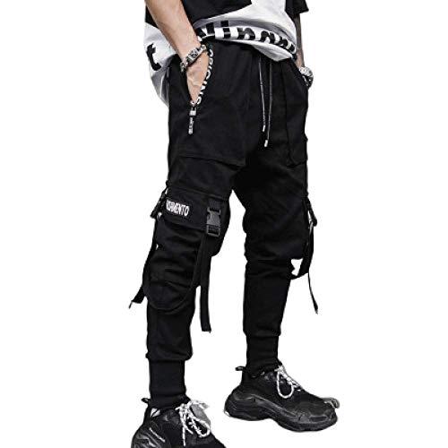 nobranded Pantalons pour Hommes Streamer Pantalons décontractés Lâche Lâche Coton Cargo Combat Work Pantalon Multi-Poches avec Poches, Sarouel décontracté