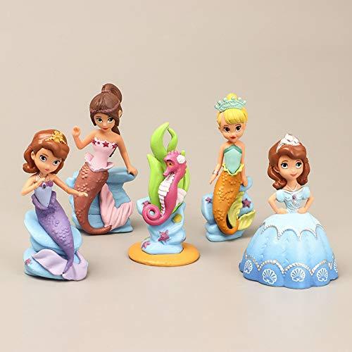 CYSJ Princesa Cake Topper 5Pcs Princesa Sirena Decoración de Tartas Figuras Decoración para Tarta de cumpleaños de Figuras de Dibujos Animados del Fiesta Suministros