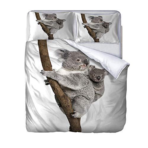 Fundas nordicas Cama 105 Madre e Hijo Koala Impresa en 3D Funda nórdica 200 x 200 cm con Cierre de Cremallera y 2 Funda de Almohada 50x75cm Juego de Cama niñas niño