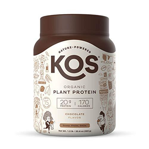 KOS Organic Plant Based Protein Powder, Chocolate - Delicious Vegan Protein Powder - Keto Friendly, Gluten Free, Dairy Free & Soy Free - 1.3 Pounds, 15 Servings by KOS