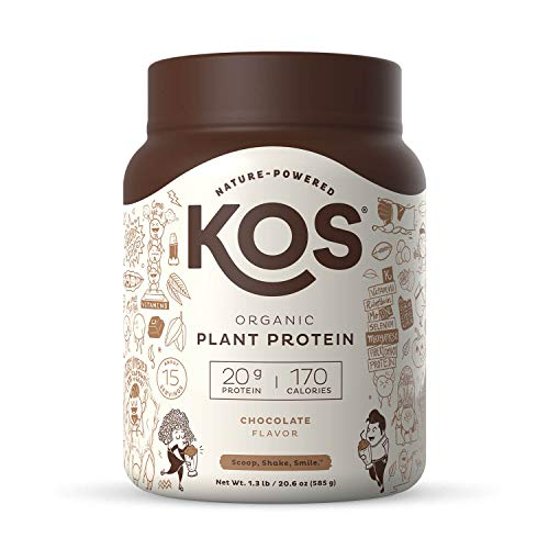 KOS Organic Plant Based Protein Powder, Chocolate - Delicious Vegan Protein Powder - Gluten Free, Dairy Free & Soy Free - 1.3 Pounds, 15 Servings