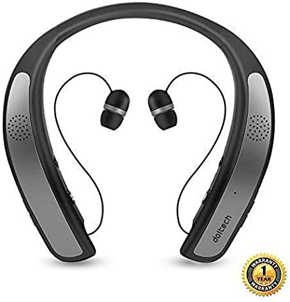 Bluetooth Headphones Speaker 2 in 1,DolTech Wireless Headphones Neckband Wearable Speaker Retractable Earbuds 3D Stereo Sound Sweatproof Headset with Mic