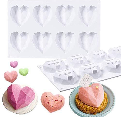 2PCS Molde de Silicona en Forma de corazón, 8 cavidades de corazón Molds para Tartas, Chocolate,Jabón, Muffins, Pastel de San Valentín Blanco