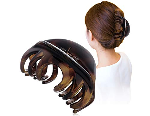 Youxuan Hair Claw for Women, 4 Inch Pretty Hair Clip, Hair Grip for Thick Hair, Coffee