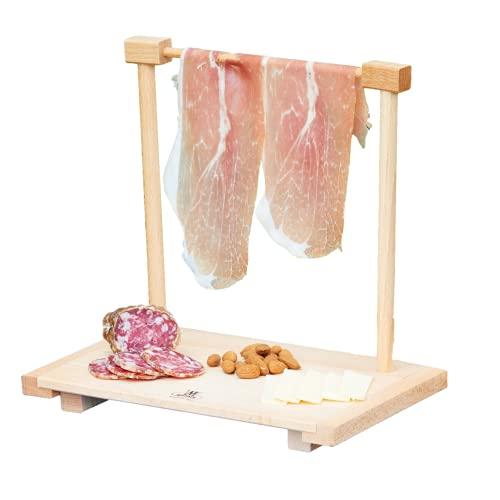Mottinox Vassoio in Legno di Faggio da Servizio, Appendi prosciutto Misura Piccola, Vassoio per aperitivo e Porta prosciutto
