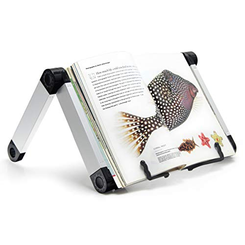 Adjustable Book Stand, Adjustable Height Angle Ergonomic Book Holder, Foldable Bookstand, Durable Collapsible Lightweight Aluminum Book Holder Page Paper Clips, Big Heavy Textbooks Music Books