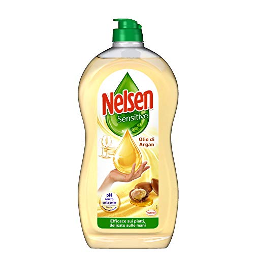 Nelsen Nelsen Olio D'Argan, Detersivo Per Piatti A Mano, Rimuove Grasso Ed Incrostazioni, Delicato Sulle Mani, 900Ml - 970 g