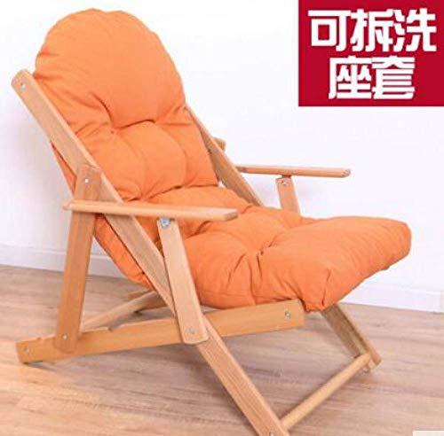 POUPDM Einzelsofastuhl Massivholzsofastuhl moderner tragbarer Klappstuhl Wohnzimmer Esszimmerstuhl Sofastuhl mit Kissen, orange