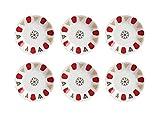 Topkapi–Set de 6posavasos de porcelana para vasos de té turco té Cristal Clásico de color rojo, 11,2cm de diámetro, 6unidades)