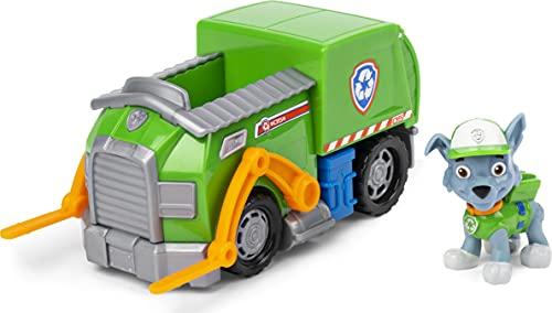 PAW Patrol Vehículo de Reciclaje de Rocky's con Figura Coleccionable, para niños de 3 años o más