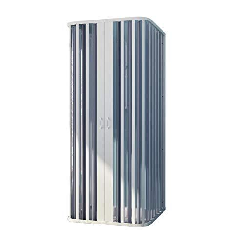 Forte BR131001Duschkabine, freistehend an 3 Seiten, Reduzierbar, zentrale Öffnung, weiß, 80–100x 80–100x 80–100 cm, Höhe 185cm