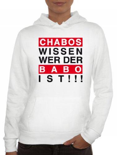 Shirtstreet24, Chabos wissen wer der BABO ist!!!Boss Lady/Damen Kapuzen Hoodie Pullover - Sweatshirt, Größe: M,Weiß