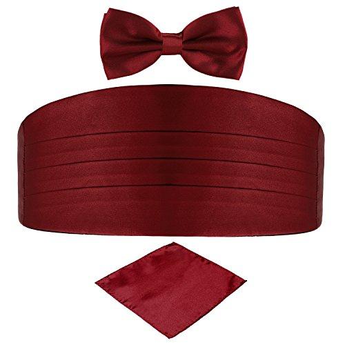 DonDon Set de tres piezas Caballero Faja de esmoquin Pajarita Pañuelo de bolsillo Color a juego Espléndido para ceremonias y ocasiones especiales - Rojo oscuro