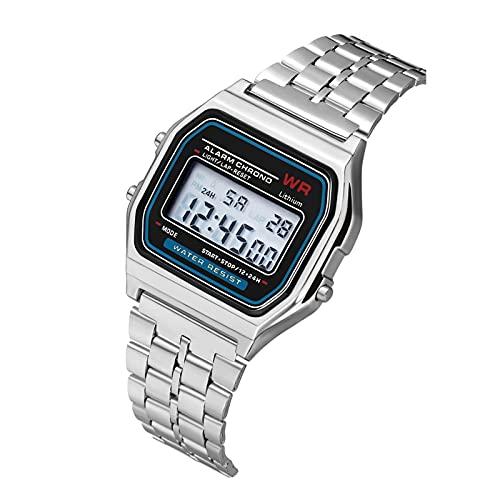 Reloj Deportivo Retro DIRIGIÓ Digital Sports Electronic Watch Ladies Men's Universal Watch Gold Silver Black Digital Digital Exhibir Regalos para Amigos (Color : Silver)
