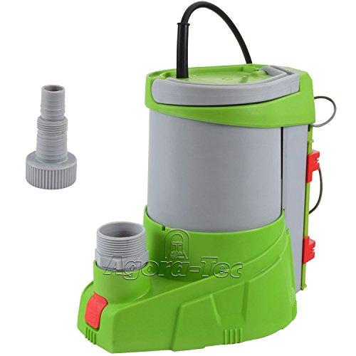 Agora-Tec AT-Tauchpumpe clear water 250W-vario-control (flachsaugend auf 1 mm) stufenlos einstellbarer integrierten Schwimmerschalter mit Rückschlagventil und max: 0,4 bar und max: 3000l/h