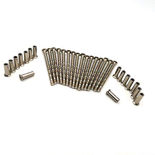 Lot de 16 vis avec manchons M4 pour poignées, serrures ou boutons de porte - couleur nickel