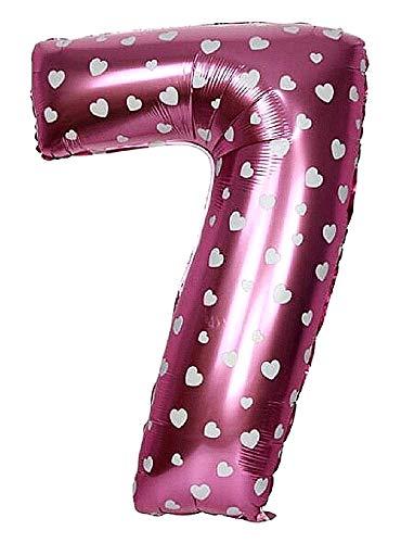 Ballonleeftijd - ballon - nummer 7 - hoogte 35cm - roze - harten - verjaardag - nieuwjaar - feest - decoraties - gevierd