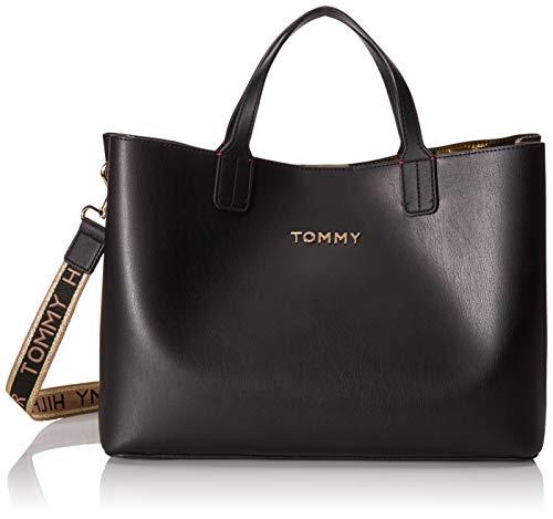 Tommy Hilfiger Damen ICONIC TOMMY SATCHEL Taschen, Schwarz, One Size