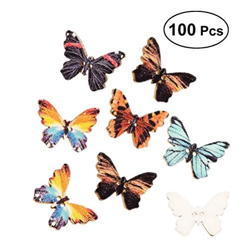 Healifty 100 piezas botones dibujos animados mariposa colorida bricolaje botones botones de madera broches de madera para scrapbook tejer artesanía de costura