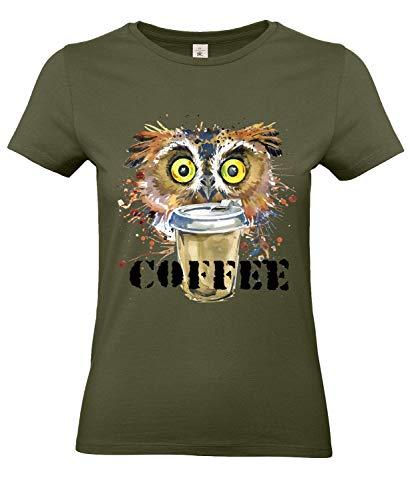 Smilo & Bron Damen T-Shirt mit Motiv Kaffee Eule Bedruckt Grün Urban Khaki XL
