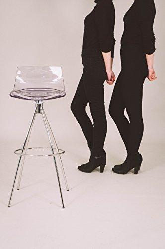 Calligaris L 'EAU sitzfest Harte Rückenlehne 4LEG (E) Bar Bartisch Bar-Hocker Sitz, Festplatten estireno-acrilonitrilo (San), transparent, Metall, Chrom, Rückenlehne