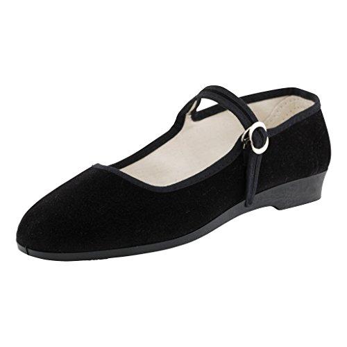 Japanwelt Original China-Samt-Schuhe schwarz für Damen, Größe 39, der Klassiker, ROC Samtschuhe Ballerinas, Bequeme Halbschuhe mit Riemchen, Schwarze Trachtenschuhe aus Samt