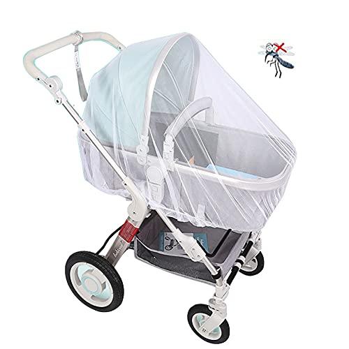CCUCKY Mosquitera para Cochecito,150cm Estiramientos Elásticos Se adapta a la mayoría de los Cochecitos,Proteja a su Bebé de los Mosquitos o Insectos,Protege a tu Bebé de Forma Natural-Blanco