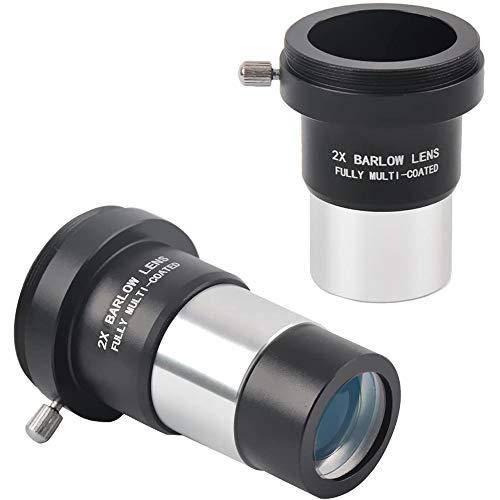 Solomark - Lentes de Barlow/cámara adaptador T para objetivo de telescopio (2 unidades, revestidas)–Acepta filtros de 1,25pulgadas