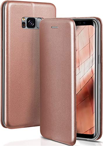 ONEFLOW Handyhülle kompatibel mit Samsung Galaxy S8 - Hülle klappbar, Handytasche mit Kartenfach, Flip Hülle Call Funktion, Klapphülle in Leder Optik, Rosegold