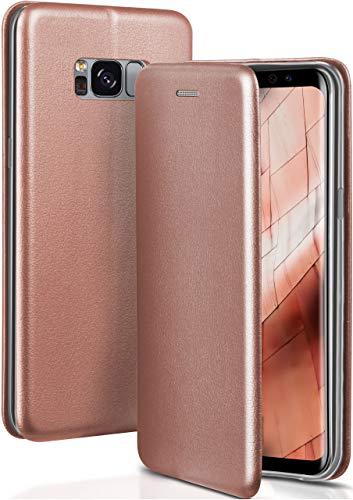 OneFlow® Premium Booklet mit unsichtbarem Magnetverschluss + Aufstellfunktion kompatibel mit Samsung Galaxy S8 | Exklusive Lederoptik, Rosé-Gold
