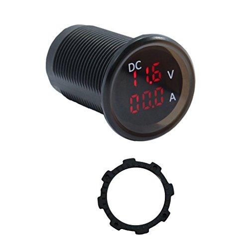 Toygogo Medidor de Probador de Amperímetro Voltímetro Digital LED Impermeable 0-15A 4.5-30V