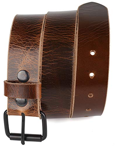 Men's Belt Genuine full Grain leather Vintage Distressed,Snap on Strap belts for men, Roller buckle, Made in USA,waxy pull up tan,wput, 2020, size 32