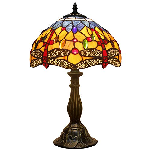 Tiffany style table lamp light S168 series 18 inch tall blue yellow dragonfly shade E26