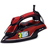 iBELL 1600 Watt Steam Iron Box with Adjustable Thermostatic Control,Water Spray,High Grade Sole Plate(Red)