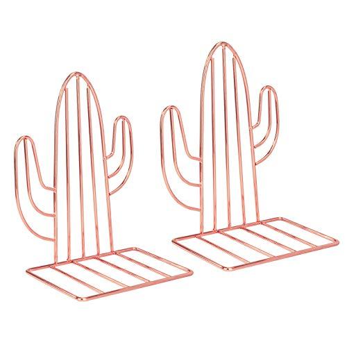 Sujetalibros de Metal, Cactus Sujeta Libros Tapón Antideslizante Soporte Hierro Sujetalibros para Organizar Libros Revistas para Escritorio, Oficina, Decoración del Hogar 2 PCS (Oro Rosa)