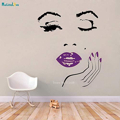 ASFGA Estilo de Banco Colorido salón de Belleza Estudio Chapa de Pared y calcomanía de Vinilo de Pared de Mano manicura Pasta de Labios Tienda de cosméticos decoración de Mujer 112x134cm