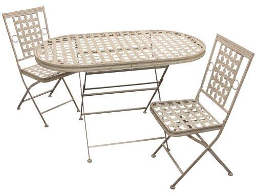 Maribelle - Lot d'une Table et Deux chaises Pliantes - pour Jardin/Patio/extérieur - métal