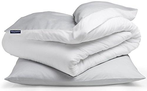 """Sleepwise """"Soft Wonder"""" Bettwäsche, ÖKO-Tex Zertifiziert, Extra-Kuschelig, Atmungsaktiv, Faltenfrei, Hypoallergen, Ganzjahres Bettbezug-Set, 135x200cm und 80x80 Kissenbezug, Hellgrau/Weiß"""