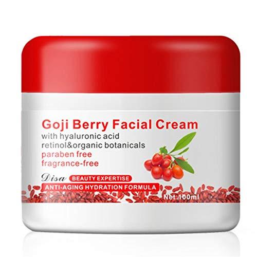 healthwen Crema Facial de Bayas de Goji con ácido hialurónico Sin parabenos Crema Facial sin Fragancia Anti-oxidación Anti-envejecimiento Reafirmante de la Piel
