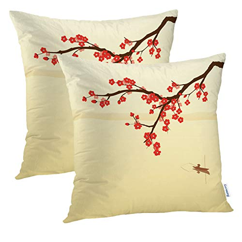 Batmerry Plum Brown Floral Decorative Pillow Covers, 16 x 16 Inch Red Japanese Plum Blossom Double Sided Throw Pillow Covers Sofa Cushion Cover Square 16 Inches(Set of 2)