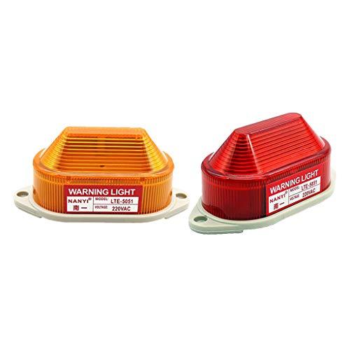 Bonarty 2pcs AC220V LED Warnleuchte Warnlicht Blitzlicht mit Wasserdichtem Gehäuse fit für Industrie Werkstatt Hafen usw.