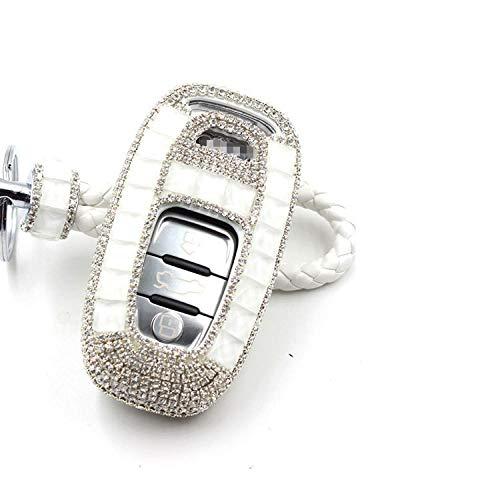 HEZHOUJI Autoschlüssel Halter Handgemachte weibliche Diamant Dekoration Autoschlüssel Fall Abdeckung für Audi B8 B7 B6 A4 A5 A6 A8 A8 Q5 Q7 R8 TT Auto Schlüsselanhänger Ring, C, weiß