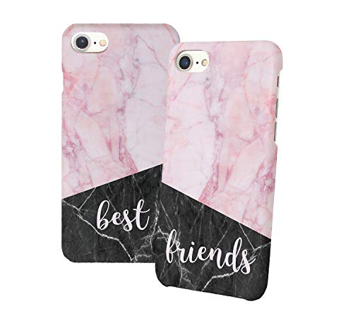 Best Friends Pink Black Iphone Relazione Amicizia Accoppiamento Custodia Protettiva In Plastica Rigida Phone Case PerIil Migliore Amico iPhone 6, 6s, 7, 7 Plus, 6 Plus, 8, X Case